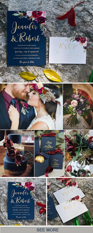 Tiệc cưới với màu xanh navy và đỏ nâu lại mang đến cảm giác ấm cùng