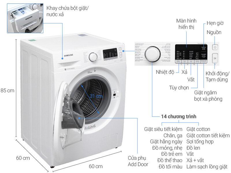 Máy giặt Samsung cửa trước WW80K5410WW/SV