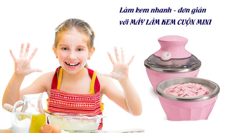 Máy làm kem cuộn mini