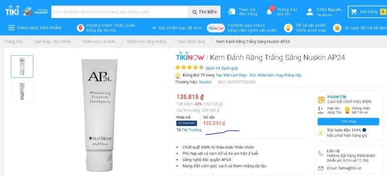 kem đánh răng ap24 trên tiki bán hơn 100k/tuýp liệu có đảm bảo chất lượng không?