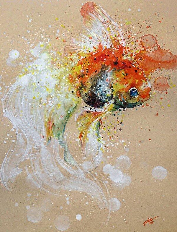 Tranh của họa sĩ đến từ đảo quốc sư tử Singapore, Tilen Ti, một bậc thầy về tranh màu nước