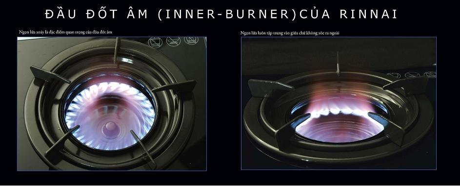 công nghệ đầu đốt âm inner burner của bếp gas Rinnai