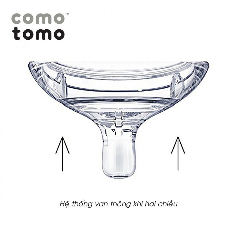 Núm ti bình sữa Comotomo có van thông khí chống sặc