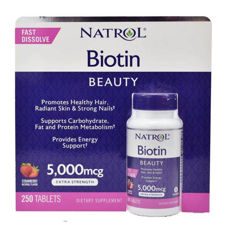 Viên uống mọc tóc Natrol Biotin Beauty 5,000mcg