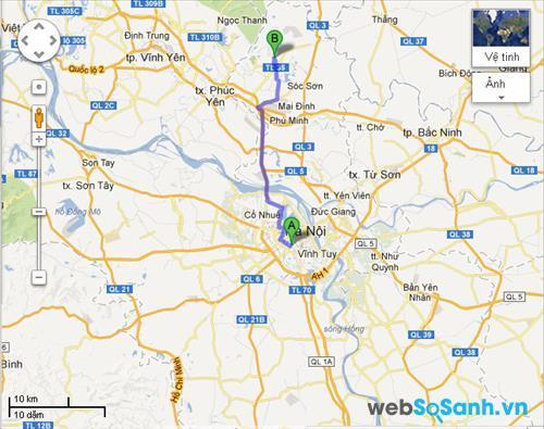 Bản đồ đường đi hàm lợn từ Hà Nội