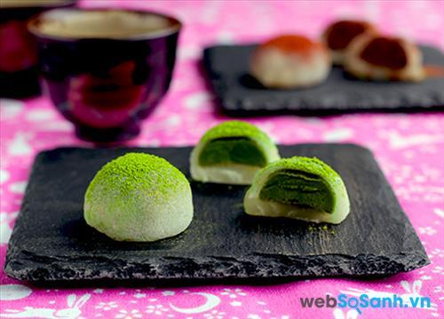 Bánh mochi trà xanh nhân đậu xanh