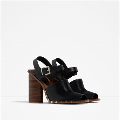 Image 2 of LEATHER STUDDED CLOGS from Zara