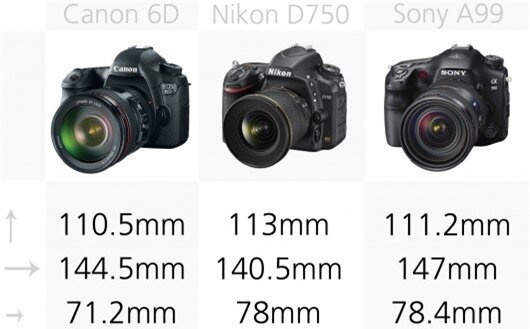 These full frame DSLRs are all big cameras, which are considerably larger than APS-C DSLRs...