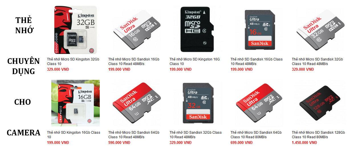 Thẻ nhớ sử dụng cho camera hành trình với các dung lượng khác nhau