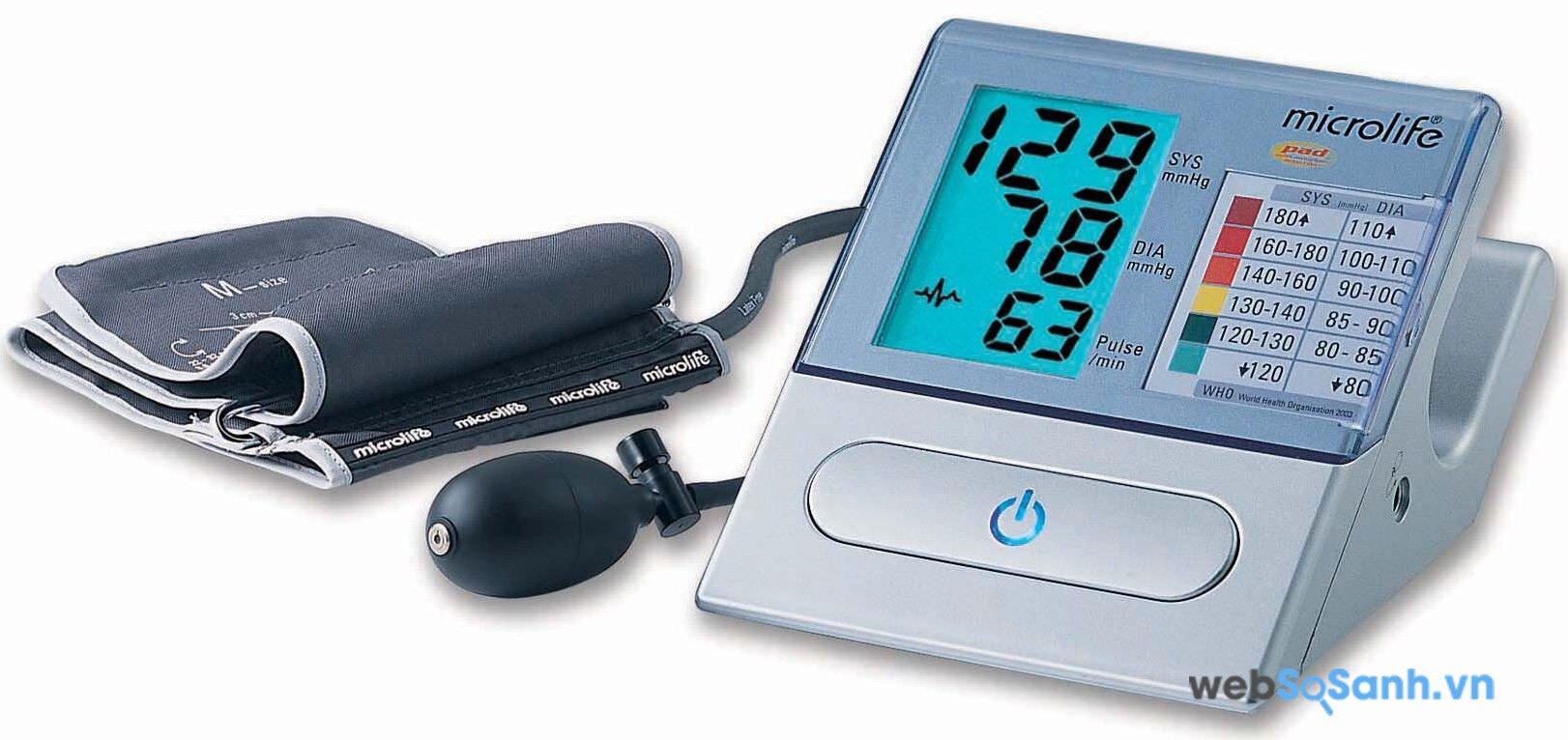 Theo thứ tự hình trên: 129 là huyết áp tâm thu, 78 là huyết áp tâm trương, và 63 là nhịp tim
