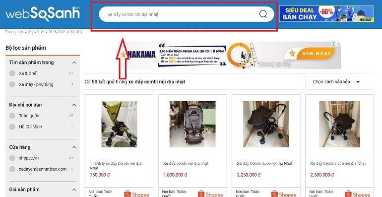 Tìm nơi bán Xe đẩy Combi nội địa Nhật bằng cổng thông tin so sánh giá Websosanh.vn