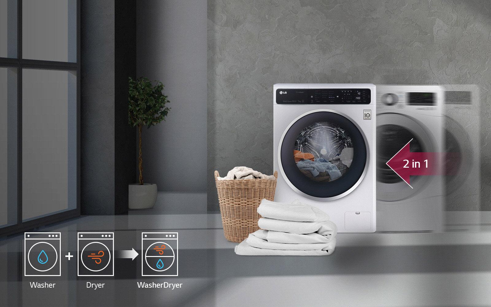 Máy giặt sấy tích hợp cả hai tính năng đó là làm sạch quần áo qua bước giặt đồng thời sấy khô quần áo