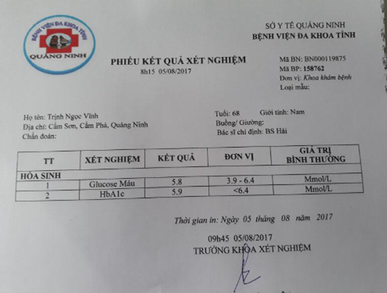 Kết quả xét nghiệm máu ngày 05/08/2017 của bác Vĩnh
