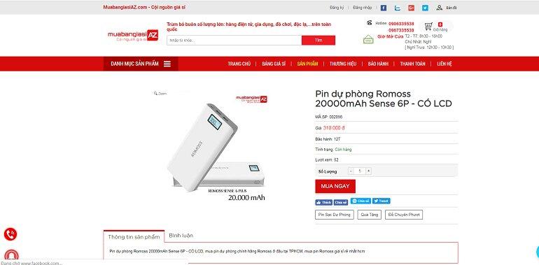 Pin dự phòng Romoss 20000mAh Sense 6P - Có LCD