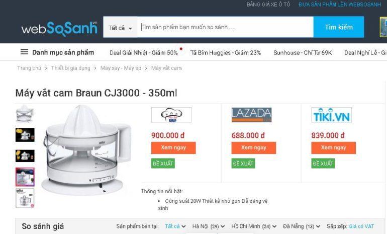 Máy vắt cam Braun CJ3000 của Đức - Giá rẻ nhất 595.000 vnđ