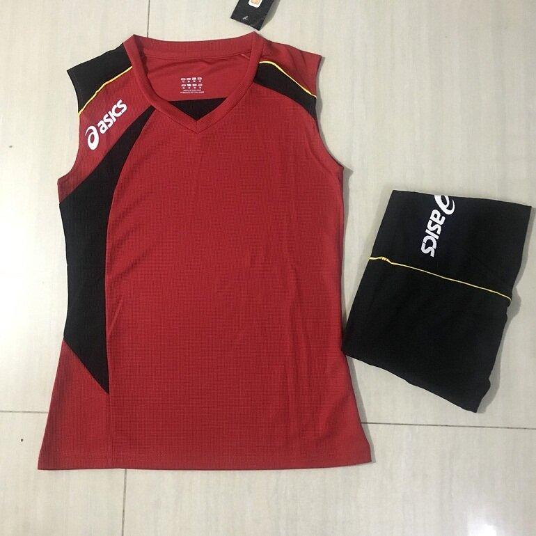 Quần áo bóng chuyền nữ sát nách Asics màu đỏ
