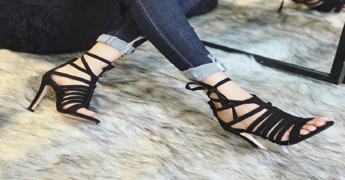 sandal cao gót nhiều dây đan
