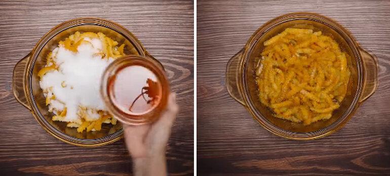 tiếp theo ta đổ vỏ cam đã vắt khô vào một chiếc nồi khác cho thêm 250g đường và 100g mật ong, trộn đều hỗn hợp này lên rồi để trong 4 tiếng cho ngấm