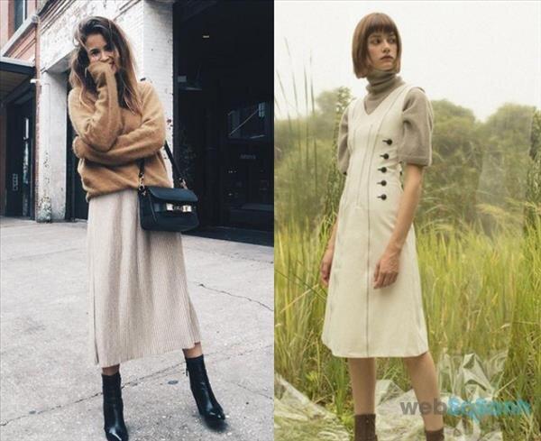 Dáng váy midi dài cùng boot cao gót đem lại vẻ nữ tính cho mùa đông