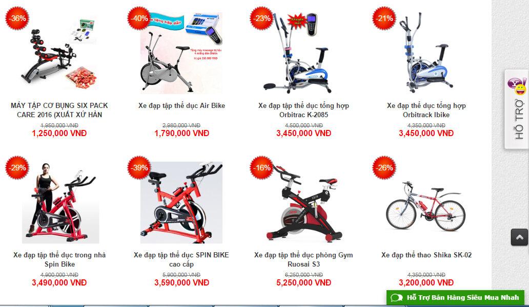 sieumuanhanh cung cấp nhiều dòng máy tập thể dục và xe đạp thể thao của thương hiệu nổi tiếng