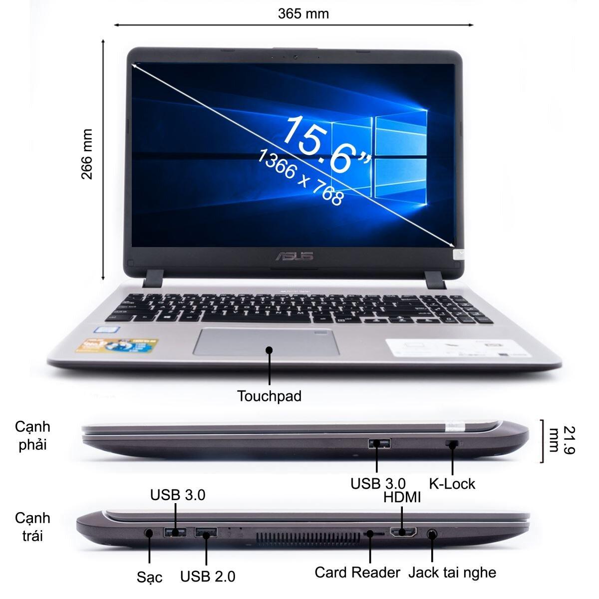 Asus Laptop X507UA phục vụ tốt cho nhu cầu sử dụng của học sinh, sinh viên