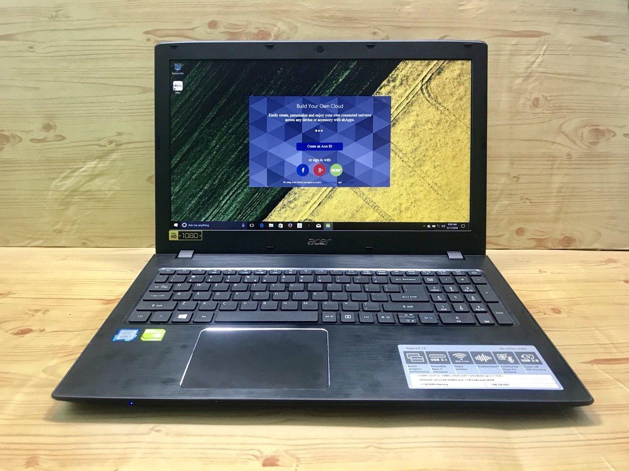 Laptop Acer Aspire E5 575G_37WF sở hữu thiết kế tối giản, gọn nhẹ