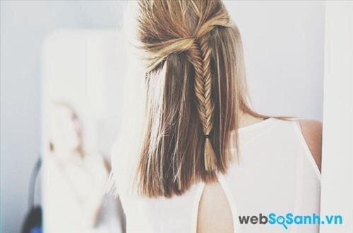 Với các bạn tóc dài hơn một chút thì kiểu tết tóc xương cá