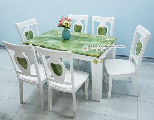 bộ bàn ăn đá cẩm thạch
