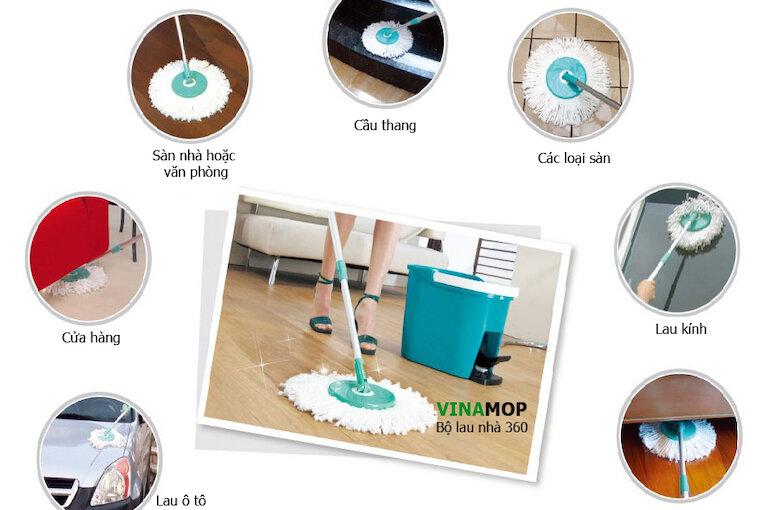Cây lau nhà 360 độ là sản phẩm cây lau nhà đa năng rất tiện ích