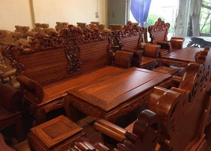 bàn ghế phòng khách gỗ hương đỏ
