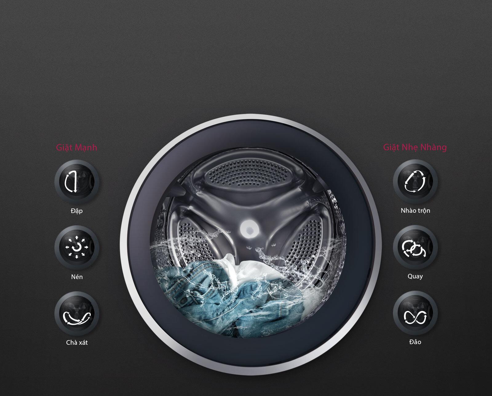 Một số chế độ giặt thông thường của máy giặt LG