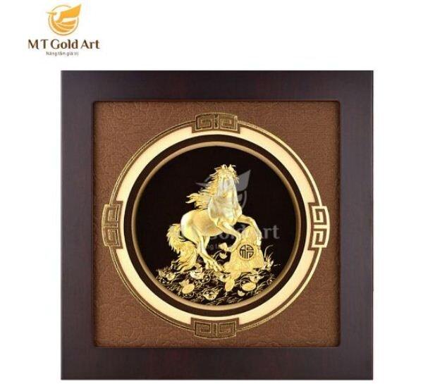 Tranh ngựa dát vàng và mạ vàng 24k MT Gold Art