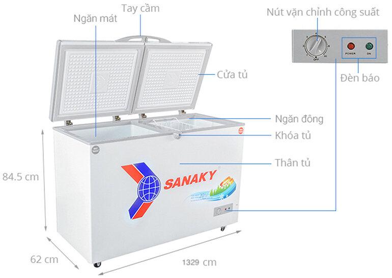 Tủ đông Sanaky 4099w1 được trang bị bánh xe linh hoạt trong quá trình di chuyển