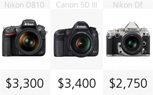 The Nikon D810 and Canon 5D M3 will set you back a cool $3,300 or $3,400
