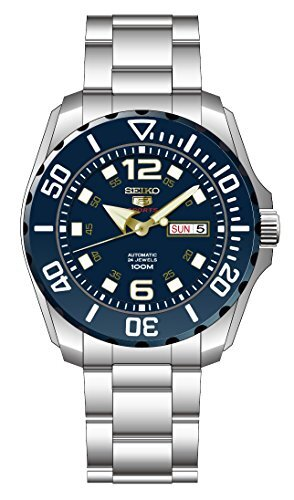 Seiko Men's Seiko 5 43.5mm Steel Bracelet & Case Hardlex Crystal Automatic Blue Dial Analog Watch SRPB37K1