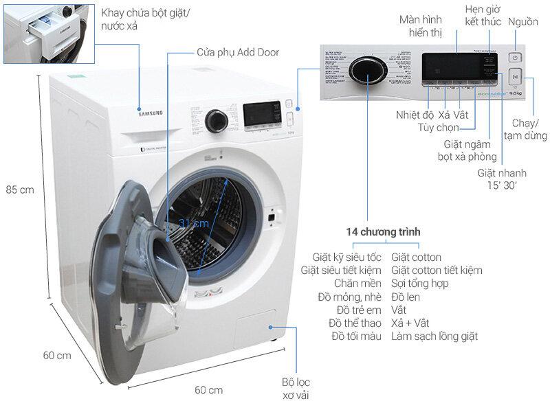 Máy giặt cửa trước tinh giản, hiện đại