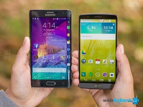Samsung Galaxy Note Edge và LG G3. Nguồn Internet