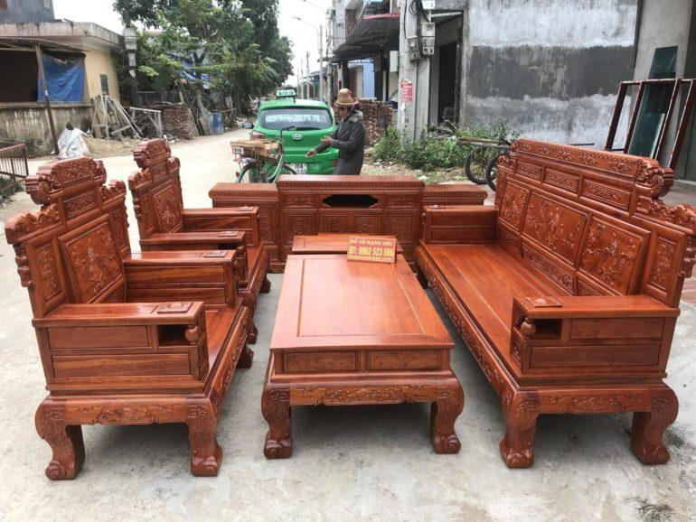 bàn ghế phòng khách gỗ hương vân
