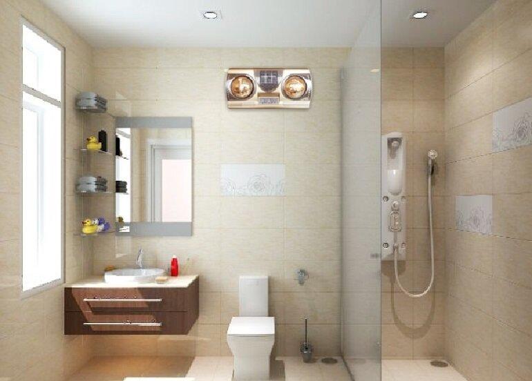 Nên chọn đèn sưởi nhà tắm 2 bóng phù hợp với diện tích