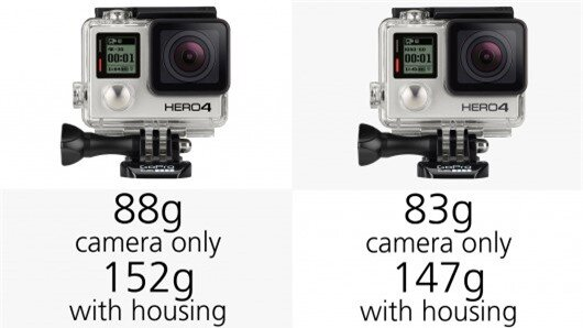 The new GoPro Hero4 cameras are slightly heavier than their predecessors