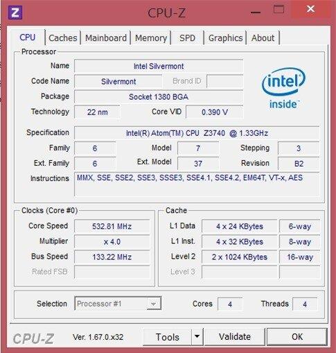 Thông tin CPU của Lenovo Miix 2 8