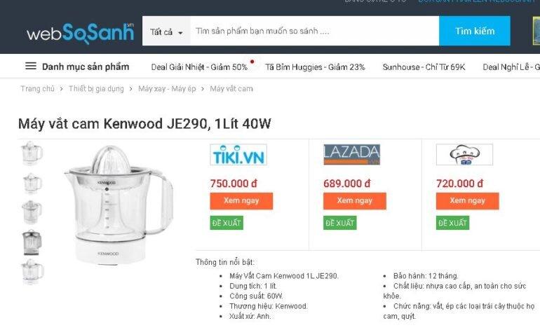 Máy vắt cam Kenwood JE290 Của Anh - Giá rẻ nhất 639.000 vnđ