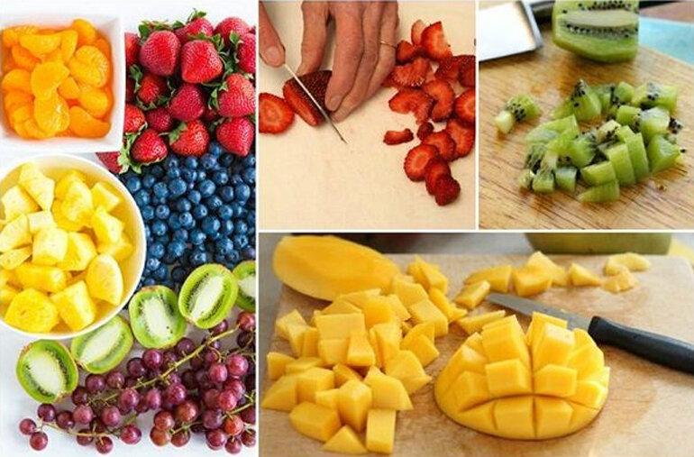 sơ chế hoa quả làm nhân bánh trung thu rau câu trái cây
