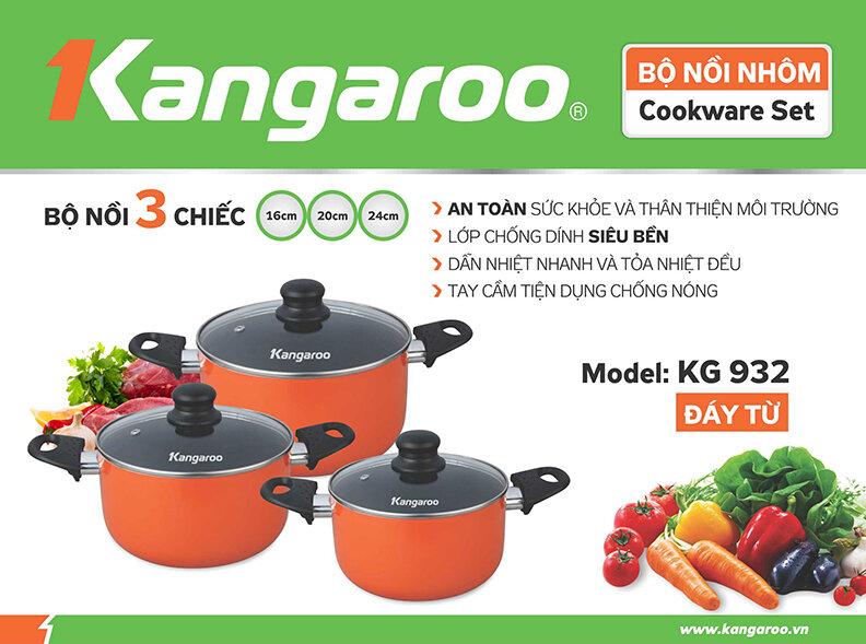 Bộ 3 nồi nhôm chống dính đáy từ Kangaroo KG932