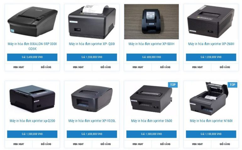 Máy in hóa đơn Xprinter: Xprinter N160II, Xprinter D600, Xprinter V320L