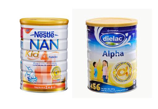 Sữa bột Dielac Alpha 456 HT với Nestlé NAN Kid 4