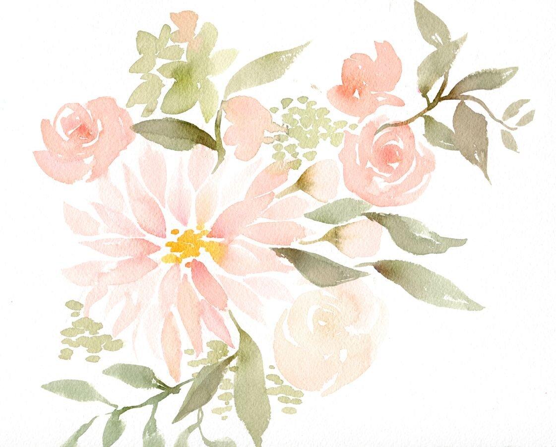 Tranh màu nước đẹp về hoa
