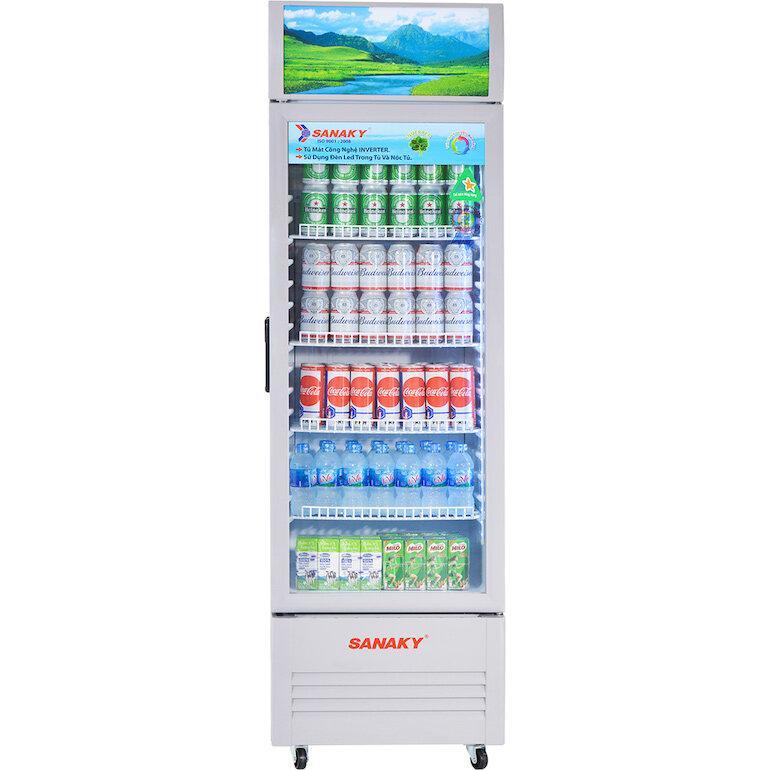 Tủ mát Sanaky vh408k được thiết kế kệ để đồ linh hoạt