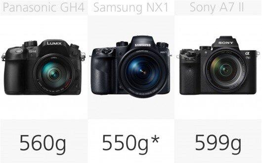 High-end mirrorless camera weight comparison (row 2)