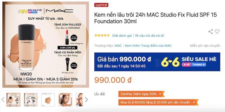 Kem nền lâu trôi 24h MAC Studio Fix Fluid SPF 15 Foundation 30ml 990,000